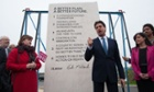 Labour leader Ed Miliband unveils Labour's pledges carved into a stone plinth if he becomes PM.