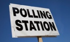 Polling station sign in London during 2010 general election.