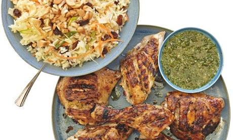 The weekend cook: Thomasina Miers' recipes for Thai-style barbecue chicken and chilled mango salad