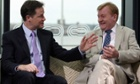 Nick Clegg, left, and Charles Kennedy during the filming of the Andrew Marr Show in 2010.