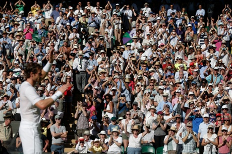 Andy Murray is applauded by the crowd just after winning his match.