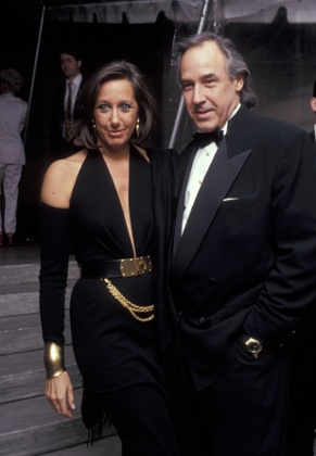 Donna Karan in her iconic cold shoulder dress