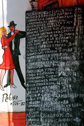 Menu outside La Maroma steak house in Buenos Aires.