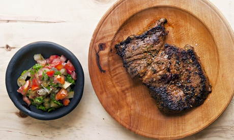 Nigel Slater's grilled steak with griddled mushrooms, bean and almond salad recipes
