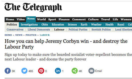 The Telegraph's article urging its readers to back Jeremy Corbyn