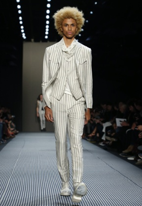 A model on the John Varvatos catwalk at Men's Fashion Week in New York