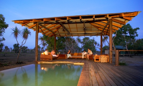 The swimming pool meets the bush at Bamurru plains – a safari experience driving distance from Darwin.