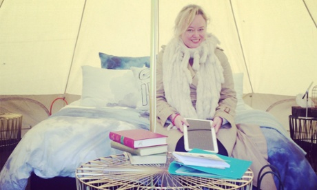 It's so cold! Brigid Delaney inside her luxury tent.