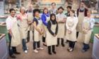Contestants (left to right) Alvin, Ugne, Paul, Dorret, Marie, Ian, Nadiya, Stu, Tamal, Flora, Mat and Sandy for this year's BBC1's cookery contest, The Great British Bake Off.