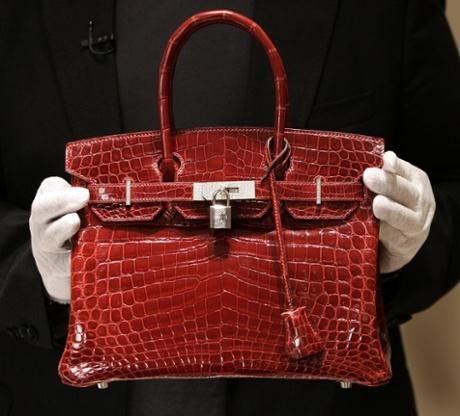A crocodile-skin Birkin bag.