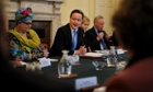 Kids Company founder Camila Batmanghelidjh  attends a 'big society' chaired by David Cameron at Downing Street in 2010.