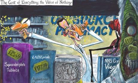 Martin Rowson on Jeremy Hunt's price-label plan  – cartoon