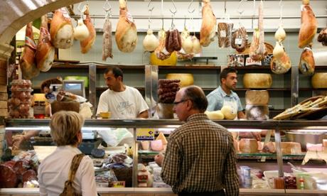 Cheese shop in San Benedetto Market, Cagliari.