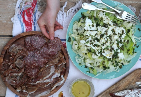 Salami with raw courgette salad.