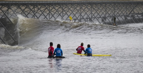 Surf Snowdonia's wave machine is able to generate a 2m high wave and accommodate up to 36 surfers.