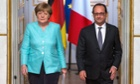 Chancellor Angela Merkel and President François Hollande after a crisis meeting in Paris.
