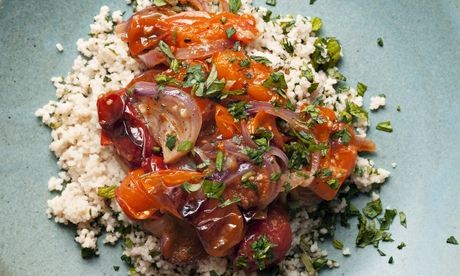 Nigel Slater's roast tomatoes with mint and parsley couscous recipe