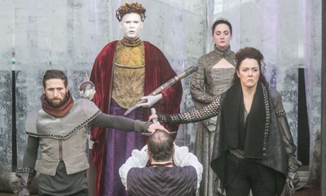 'Strong-jawed determination': Derbhle Crotty (right) as Bolingbroke/Henry IV.