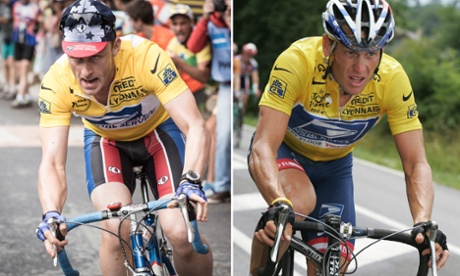 Film composite. Left: film still of Ben Foster as Lance Armstrong in The Program; right: Lance Armstrong.  Credit: Getty.Untitled-1.jpg