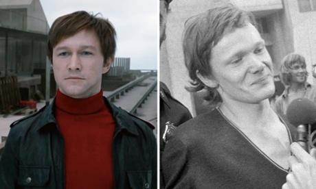 Film composite. Joseph Gordon-Levitt as Philippe Petit in The Walk.  Right: Philippe Petit - credit: Getty.