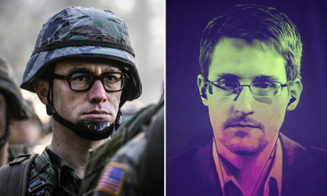 Joseph Gordon-Levitt as Edward Snowden in Snowden.  RIght: Edward Snowden - credit: AFP/Getty.