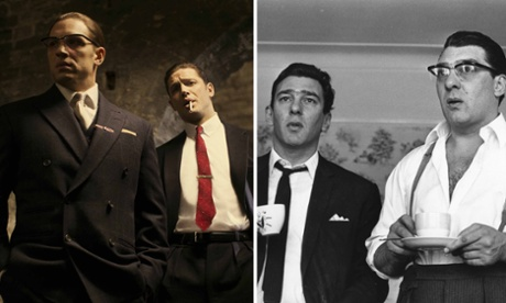 Film composite. Tom Hardy as the Kray Twins in the film Legend.  RIght: The Kray twins - credit: Getty.