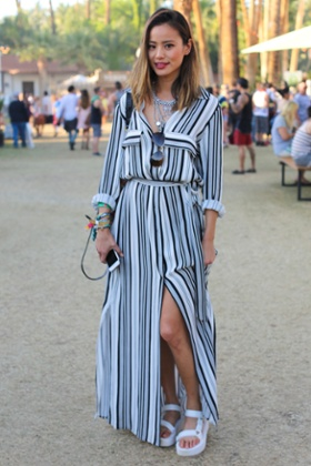 Jamie Chung in Teva Flatform Universal sandals at the Coachella Valley music festival in California earlier this year.