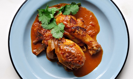 Nigel Slater's chicken drumsticks with tomatoes and ginger