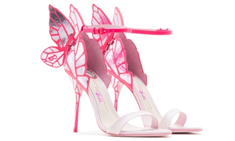 Sophia Webster's Barbie shoe range channels classic Barbie style with pink butterfly high heels.