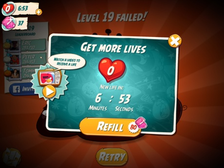 Angry Birds 2 uses a system of lives, gems and video ads to keep people playing.