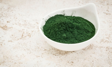 Bowl of spirulina powder.