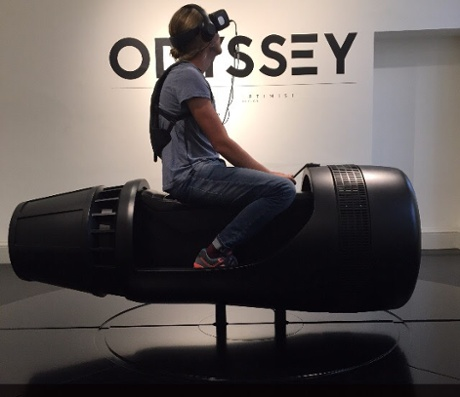 Guardian journalist Oliver Wainwright tests out the Odyssey installation at Somerset House.
