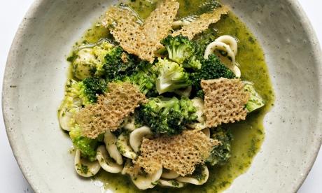 Nigel Slater's orecchiette, salsa verde and parmesan crisps recipe