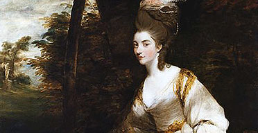 Detail from Joshua Reynolds' portrait of Georgian, Duchess of Devonshire