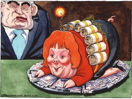 Steve Bell 04.06.09 on Hazel Blears resignation