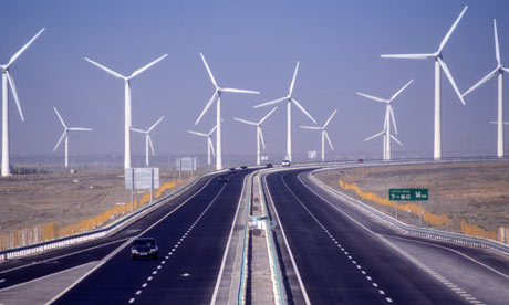 Windfarm in China. China's ambitious wind and solar plans represent a direct challenge to Europe's claims of world leadership on cutting carbon emissions. Photograph: Keren Su/Getty