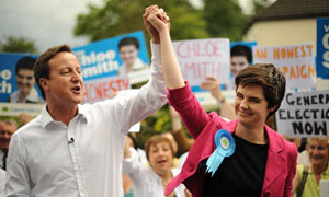 David Cameron and new MP Chloe Smith celebrate taking Norwich North