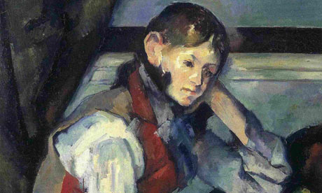 Detail from Paul Cézanne's The Boy in the Red Vest.