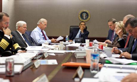 President Barack Obama in the war room