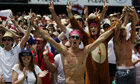 Fans celebrate following England's victo