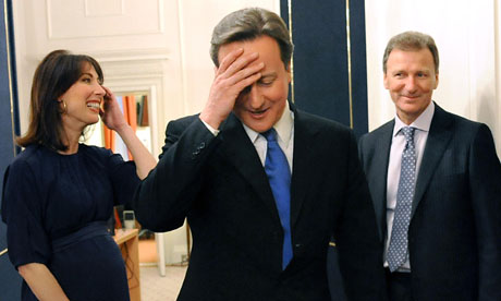 David Cameron with his wife and Sir Gus O'Donnell