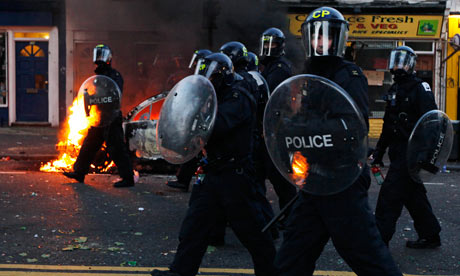 Police in Hackney during the riots