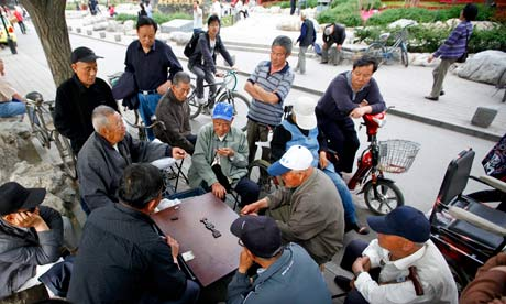 China Elderly Playing Domino