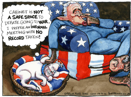 Steve Bell on Whitehall holding up the Chilcot inquiry into Iraq