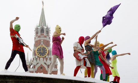 Russian radical feminist group Pussy Riot stage a protest against Vladimir Putin's policies at Moscow's Red Square last January. Photograph: Denis Sinyakov/Reuters