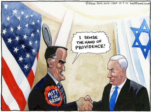 Steve Bell on Mitt Romney's visit to Israel
