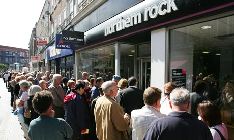 Customers of Northern Rock queue outside the Kingston branch of the company in London on September 15, 2007. Photograph: Cate Gillon/Getty Images
