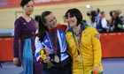 Victoria Pendleton and her rival Anna Meares