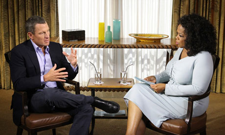 Lance Armstrong speaking with Oprah Winfrey in Austin