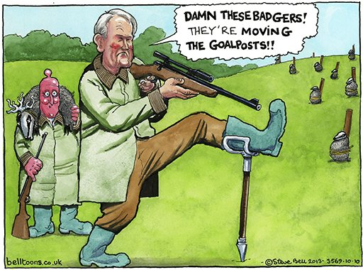 Steve Bell on the badger cull – cartoon
